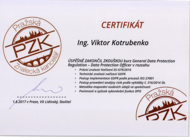 Doplnění vzdělání pro Znalecký posudek Certifikát GDPR