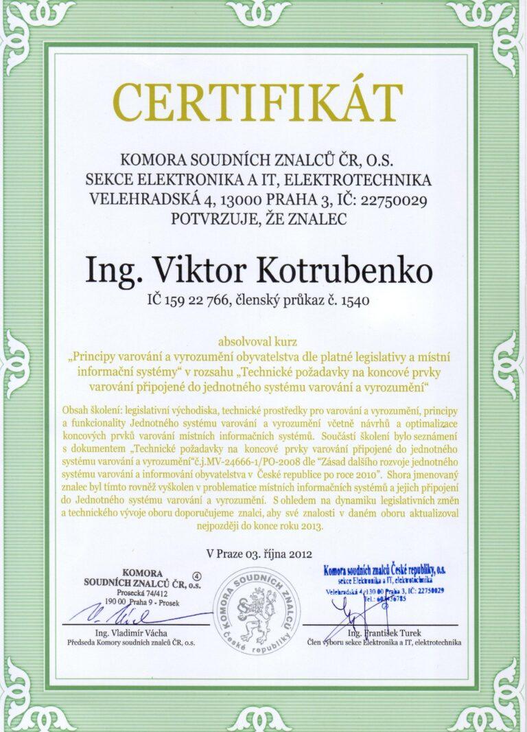 Doplnění vzdělání pro Znalecký posudek Certifikát - Principy varování a vyrozumění obyvatelstva