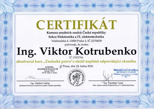 Doplnění vzdělání pro Znalecký posudek Certifikát - Znalecké právo